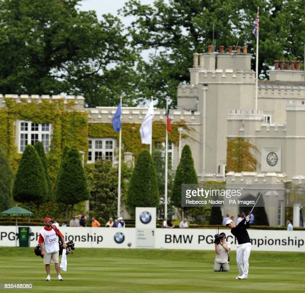 England's Paul Casey plays his second shot to the 1st hole during Round 3 of the BMW PGA Championship at Wentworth Golf Club Surrey