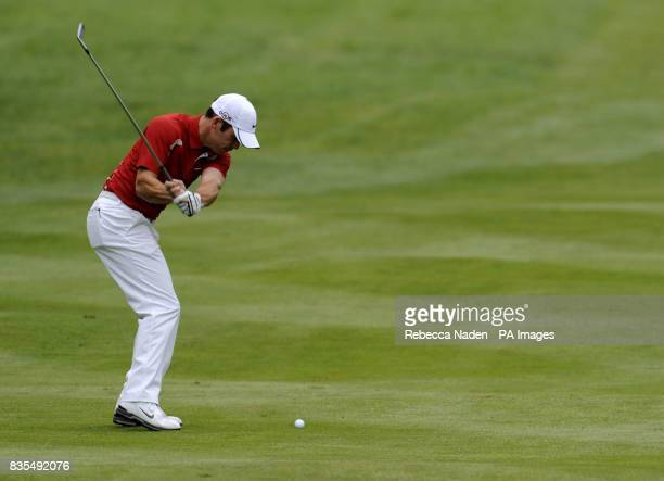 England's Paul Casey plays his second shot to the 3rd hole during Round 3 of the BMW PGA Championship at Wentworth Golf Club Surrey