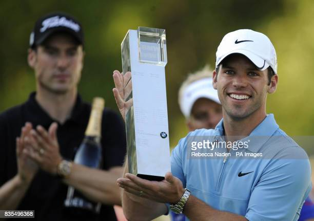 England's Paul Casey poses with the trophy after winning the during Round 4 of the BMW PGA Championship at Wentworth Golf Club Surrey