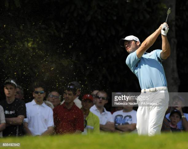 England's Paul Casey tees off the 2nd hole during Round 4 of the BMW PGA Championship at Wentworth Golf Club Surrey