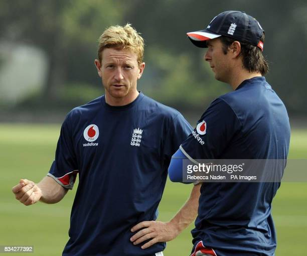 England's Paul Collingwood and captain Michael Vaughan during practice at Nelson Park Napier New Zealand