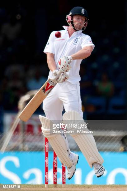 England's Paul Collingwood avoids a ball from West Indies's Fidel Edwards during the fifth test at Queen's Park Oval Port of Spain Trinidad