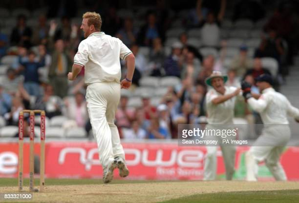 England's Paul Collingwood celebrates after bowling India's Rahul Dravid cought by Andrew Strauss for 12 runs during the fourth day of the Third...
