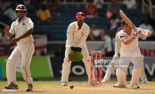 England's Paul Collingwood hits out during the First Test at Sabina Park Kingston Jamaica