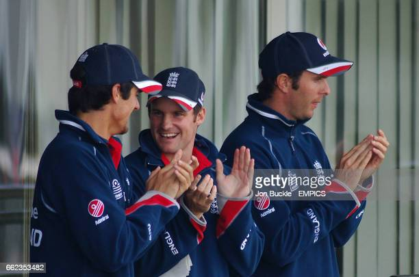 England's Paul Collingwood is applauded off after his innings of 128 by teamates Andrew Strauss Michael Vaughan and Alastair Cook during match...