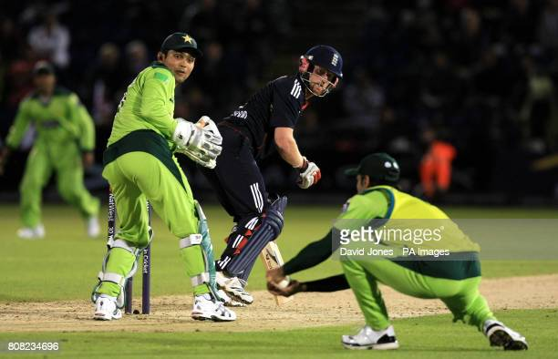 England's Paul Collingwood is caught by Pakistan's Mohammad Hafeez of the bowling of Saeed Ajmal for 21 runs during the Second Twenty20 International...