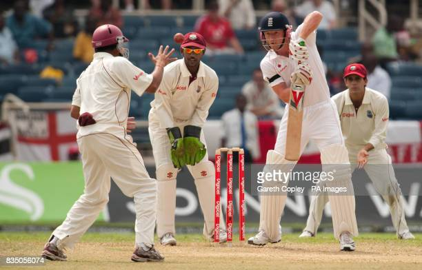 England's Paul Collingwood is kept at bay by the West Indian fielders during the First Test at Sabina Park Kingston Jamaica