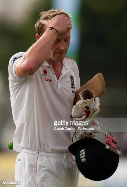 England's Paul Collingwood leaves the field after being dismissed by West Indies' Sulieman Benn during the First Test at Sabina Park Kingston Jamaica