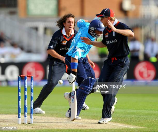 England's Paul Collingwood nearly collides with Scotland's Gavin Hamilton during the Twenty20 World Cup warm up match at Trent Bridge Nottingham