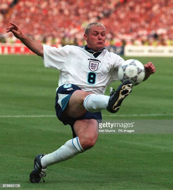 England's Paul Gascoigne in action during England's Euro 96 clash against Holland at Wembley 21/10/04 Footballer Gascoigne unveiled his new name...