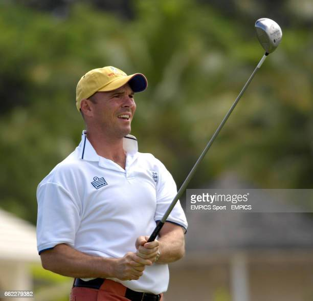 England's Paul Nixon during a game of golf hosted by Michael Vaughan at Royal Westmoreland Golf Club Barbados