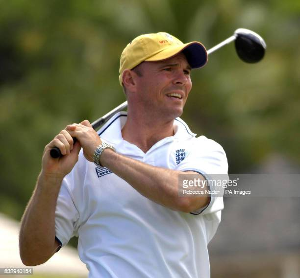 England's Paul Nixon tees off the 1st hole during a game of golf hosted by Michael Vaughan at Royal Westmoreland Golf Club Barbados