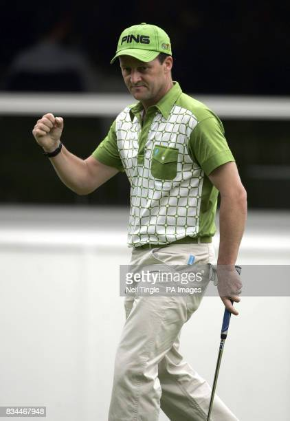 England's Paul Streeter celebrates a birdie on the 18th green during Round Two of the BMW PGA Championship at Wentworth Golf Club Surrey