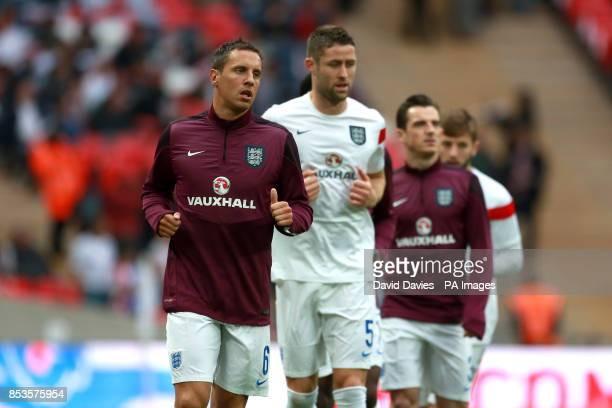England's Phil Jagielka during the warm up
