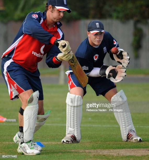 England's Phil Mustard and Tim Ambrose during practice at Nelson Park Napier New Zealand