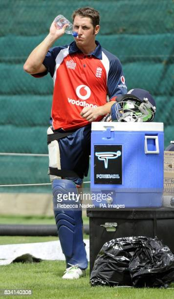 England's Phil Mustard during practice at Seddon Park Hamilton New Zealand