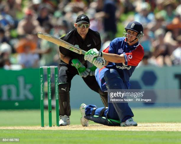 England's Phil Mustard hits the ball for 4 runs during the Fourth One Day International match at McLean Park Napier New Zealand