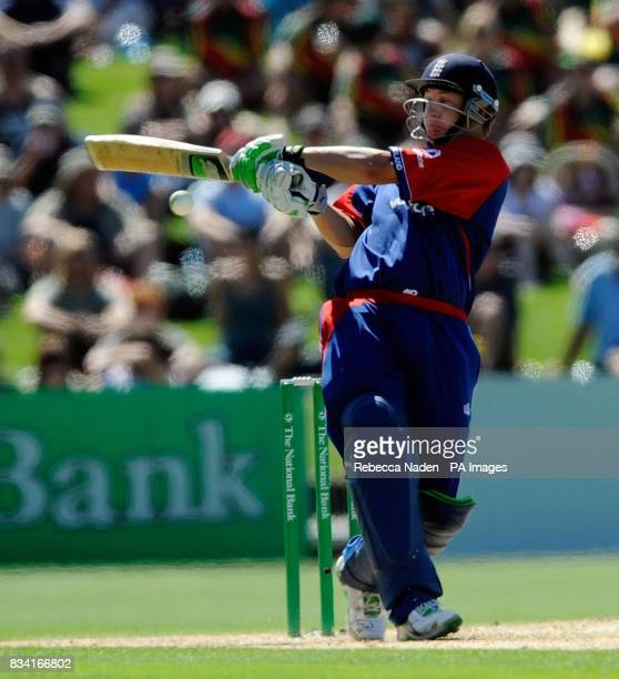 England's Phil Mustard hits the ball for 6 runs during the Fourth One Day International match at McLean Park Napier New Zealand