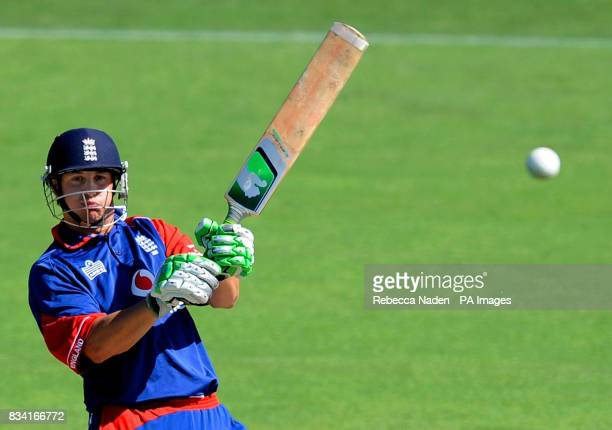 England's Phil Mustard hooks the ball for 4 runs during the Fourth One Day International match at McLean Park Napier New Zealand