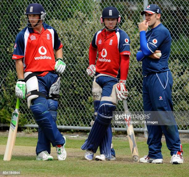 England's Phil Mustard Ian Bell and James Tredwell during practice at Lincoln University Lincoln New Zealand