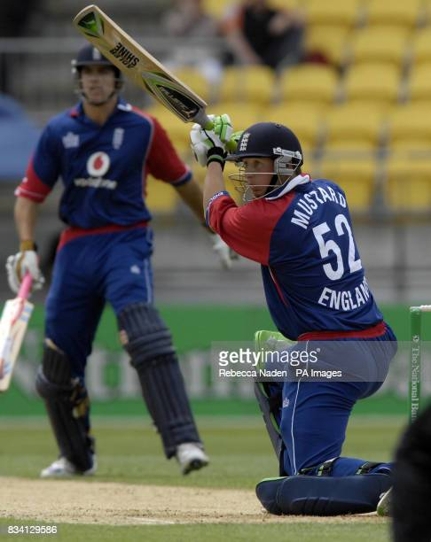 England's Phil Mustard in action during the First One Day International match at the Westpac Stadium Wellington New Zealand