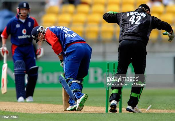 England's Phil Mustard is bowled by New Zealand's Scott Styris during the First One Day International match at the Westpac Stadium Wellington New...