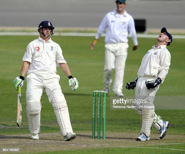 England's Phil Mustard is dismissed during the match at the University Oval Otago University New Zealand