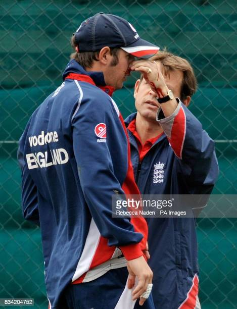 England's Phil Mustard receives attention for a bleeding nose after being hit in the face by a cricket ball during net practice at Seddon Park...