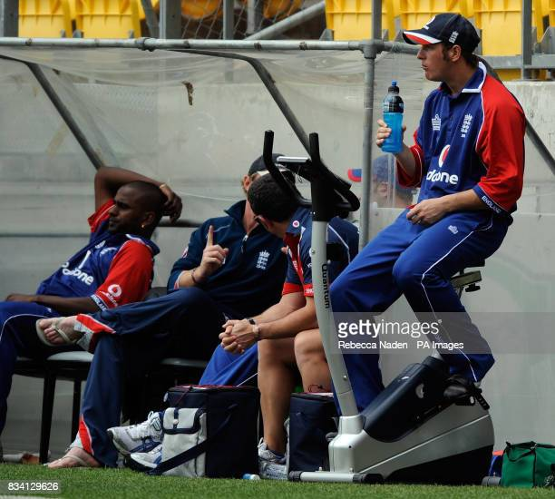 England's Phil Mustard sits on an exercise bike on the boundary after his innings during the First One Day International match at the Westpac Stadium...