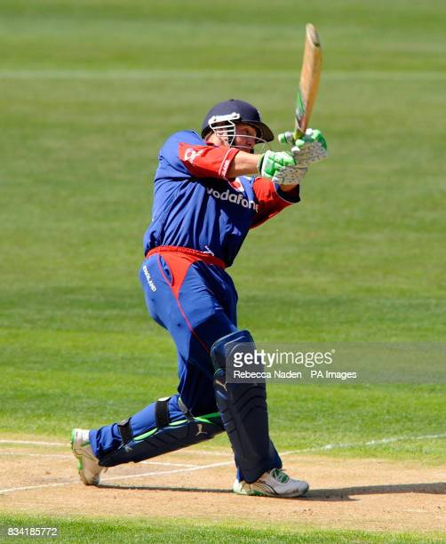 England's Phil Mustard skies the ball and is dismissed during the fifth One Day International match at the AMI Stadium Christchurch New Zealand