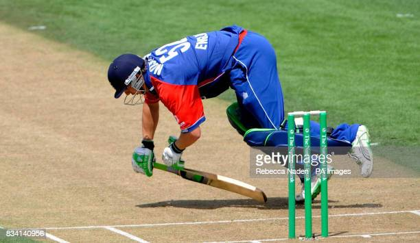 England's Phil Mustard stops a ball but falls during the second ODI at Seddon Park Hamilton New Zealand