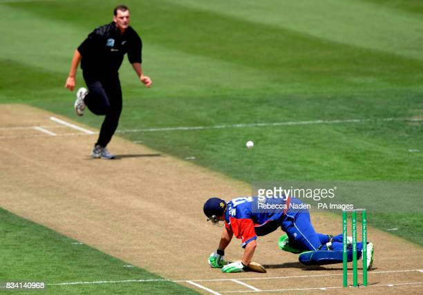 England's Phil Mustard survives a ball from New Zealand bowler Kyle Mills during the second ODI at Seddon Park Hamilton New Zealand