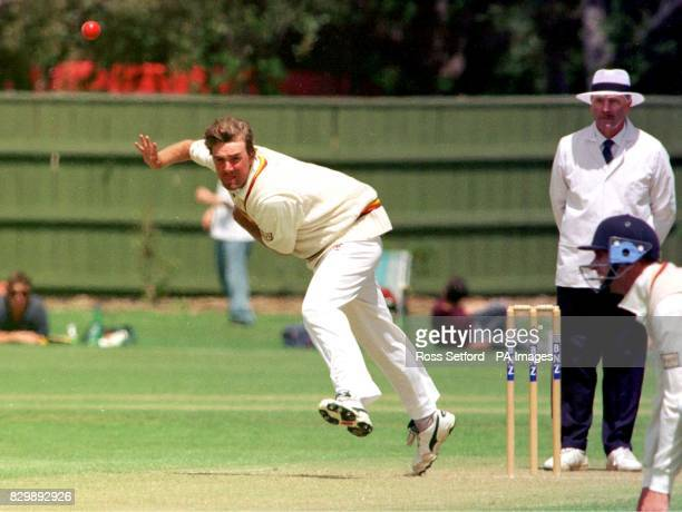 England's Phil Tufnell bowls on the first day of the match against a New Zealand Selection XI at Fitzherbert Park Palmerston North today Photo by...
