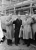 England's players arrive in France before a match against France Don Revie Billy Wright and Stanley Matthews