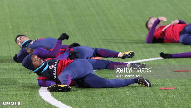 England's players including striker Daniel Sturridge take part in a training on October 7 2017 in Vilnius Lithuania on the eve of the 2018 FIFA World...