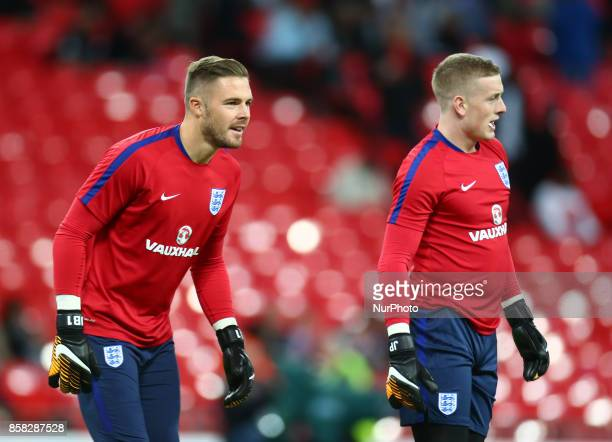 England's players Jack Butland and Jordan Pickford during warm up before the FIFA World Cup Qualifying European Region Group F match between England...