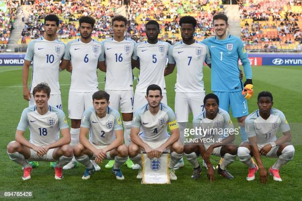 England's players pose for photographs before the U20 World Cup final football match between England and Venezuela in Suwon on June 11 2017 / AFP...