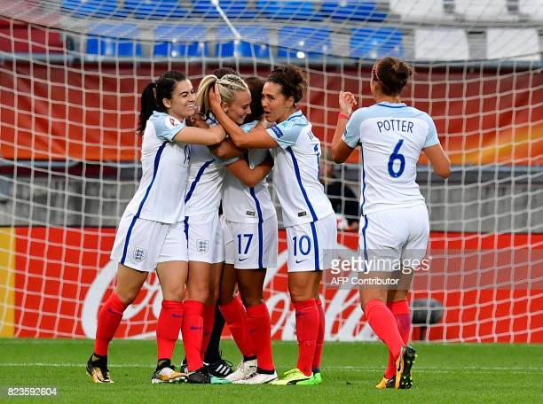 England's players react after scoring a goal during the UEFA Women's Euro 2017 football tournament between Portugal and England at Stadium Koning...
