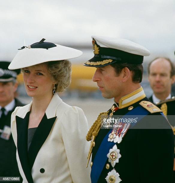 England's Prince Charles and his wife Diana Spencer waiting the arrival of the Spanish Kings Juan Carlos and Sofia at the airport in London London...