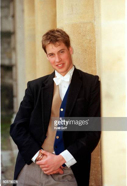 England's Prince William wearing vest sponge bag trousers as one Eton's 21 elected prefects