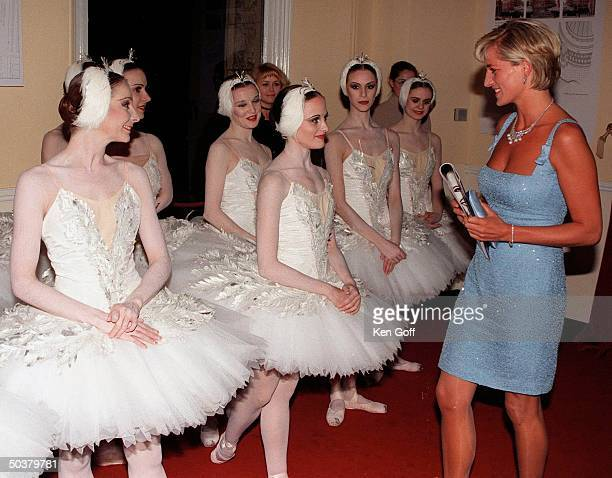 England's Princess Diana in short light blue dress w ballerinas arriving at the Royal Albert Hall for a performance of Swan Lake by the English...