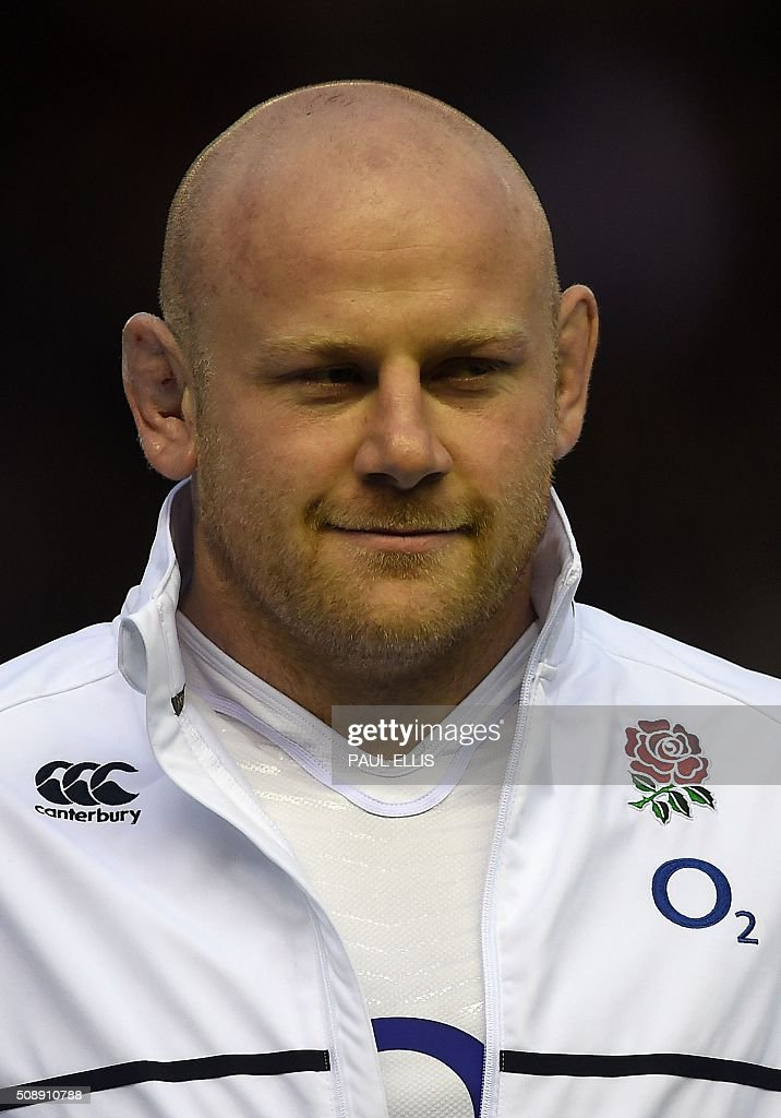 England's prop Dan Cole sings the national anthem ahead of the Six Nations international rugby union match between Scotland and England at Murrayfield in Edinburgh, Scotland on Febuary 6, 2016. England won the match 15-9. / AFP / PAUL ELLIS
