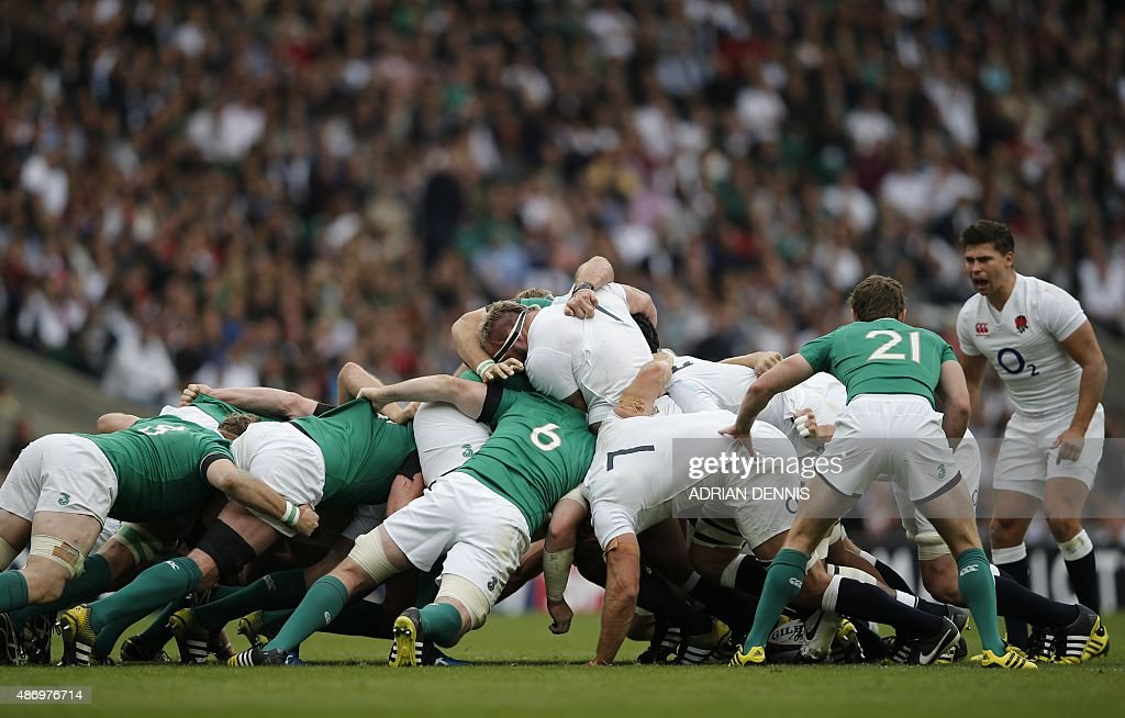 England's prop Joe Marler is forced out of the scrum during the international rugby union friendly match between England and Ireland ahead of the...