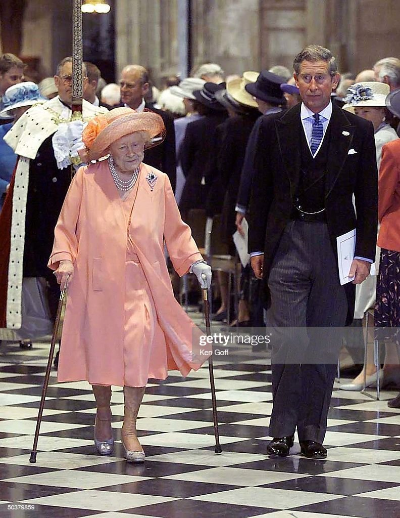 England's Queen Mother (L, in pink) w. Prince Charles (C) at National Service of Thanksgiving for Queen Mother's 100th birthday at St. Paul's Cathedral.