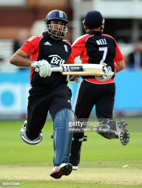England's Ravi Bopara and Ian Bell put runs on the board during the Fourth ODI at Lords Cricket Ground London