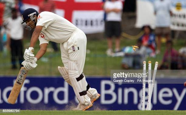 England's Ravi Bopara is bowled by Sri Lanka's Lasith Malinga during the Second Test at the Sinhalese Sports Club Ground Colombo Sri Lanka
