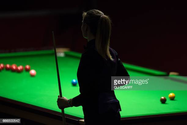 England's Reanne Evans waits to play a shot against Wales's Lee Walker during their World Snooker Championship second round qualifying match at the...