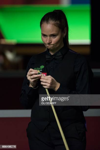 England's Reanne Evans waits to play against Wales's Lee Walker during their World Snooker Championship second round qualifying match at the at the...