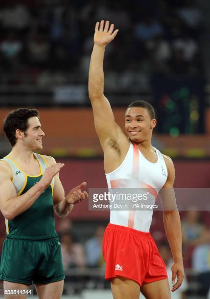 England's Reiss Beckford celebrates silver in the floor event of the Men's Apparatus Final during Day Four of the 2010 Commonwealth Games at the...