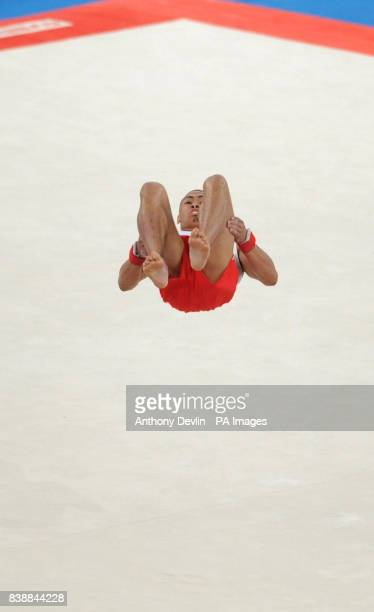 England's Reiss Beckford goes on to win silver in the floor event of the Men's Apparatus Final during Day Four of the 2010 Commonwealth Games at the...